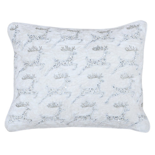 Riva Home Soft White Cushion with Sequin Leaping Reindeer - 35x50cm