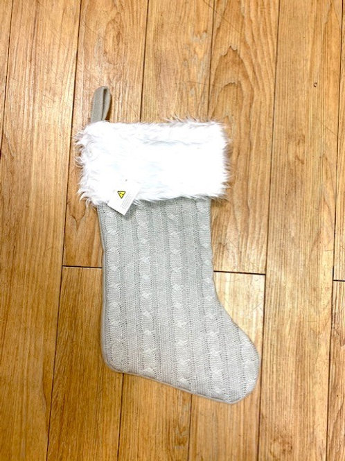 Grey Knitted Stocking with White Fur Topper 42cm