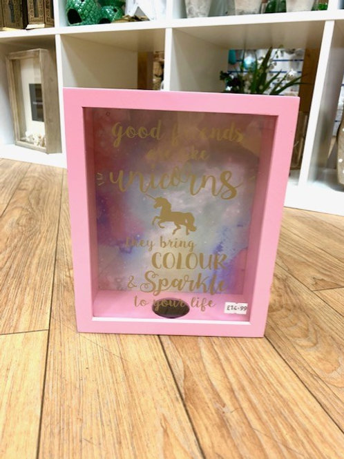 "Langs ""Good Friends are Like Unicorns......."" Money Box"