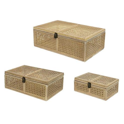Set of Three Rattan Storage Boxes