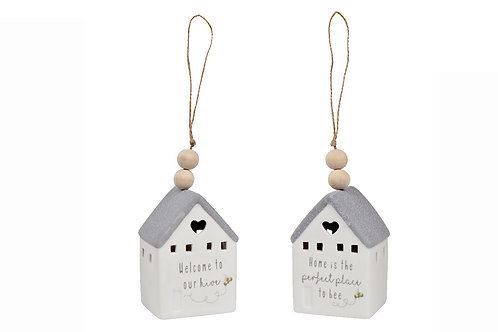 """LED Lit Pottery Hanging Bee House """"Welcome to our Bee Hive"""""""