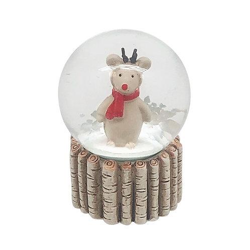 Reindeer in Red Scarf Snowglobe