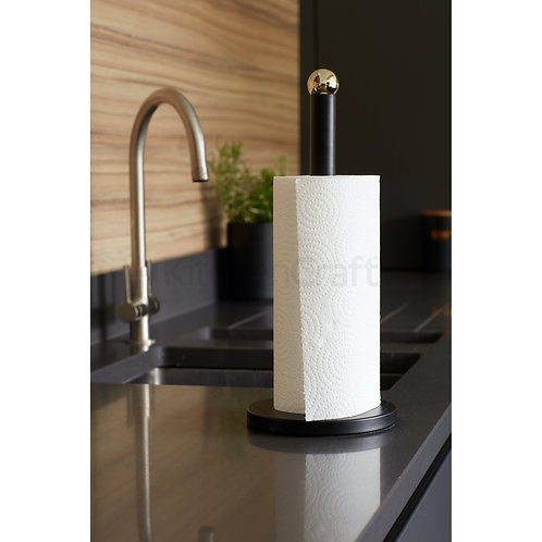 MasterClass Stainless Steel Matt Black and Brass Finish Towel Holder