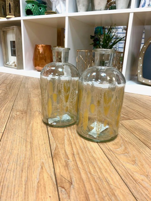 Gisela Graham Gold Feather Bottle Vase