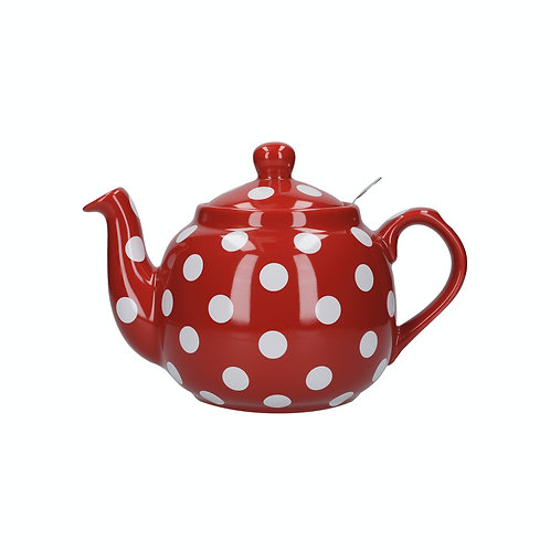 London Pottery Farmhouse 4 Cup Red Spotty Teapot
