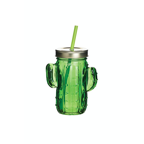 BarCraft Cactus Drinks Jar with Straw