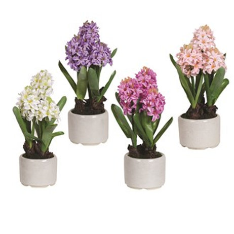 Faux Purple Hyacinth in Crackle Grey Pot
