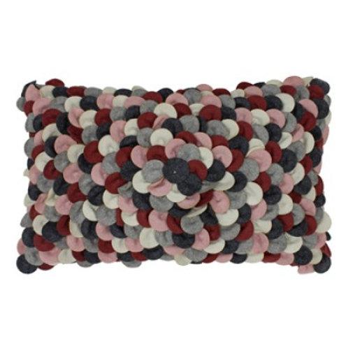 Petals Pink/Plum/Greay Oblong Cushion 30cm x 50cm