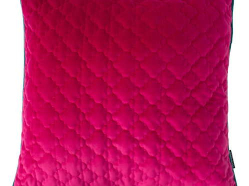 Royale Hot Pink Square Cushion with Blue Piping  by Riva Home 50x50cm