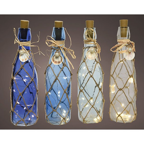 Micro LED Lit Glass Bottle with Shells - Sky Blue