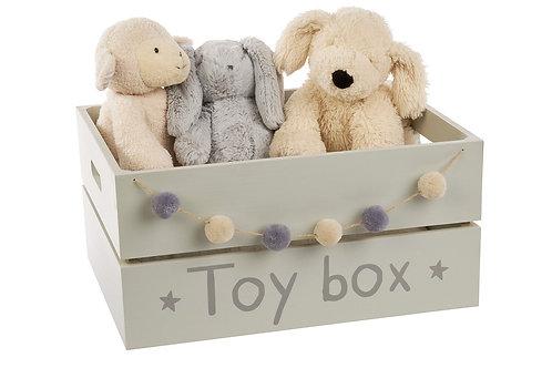 Grey Pom Pom Toy Box