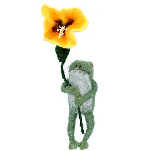 Gisela Graham Wool Mix Easter Frog with Flower Decoration