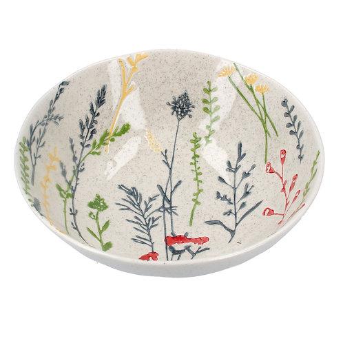 Gisela Graham Ceramic Artisan Shallow Bowl - Meadow Flowers