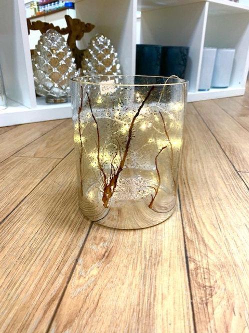 LED Lit Gold and Copper Trees Hurricane Lantern
