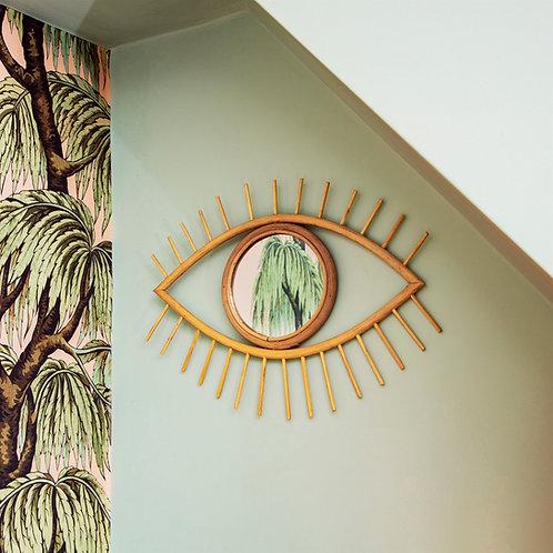 Bohemian Rattan Eye Mirror