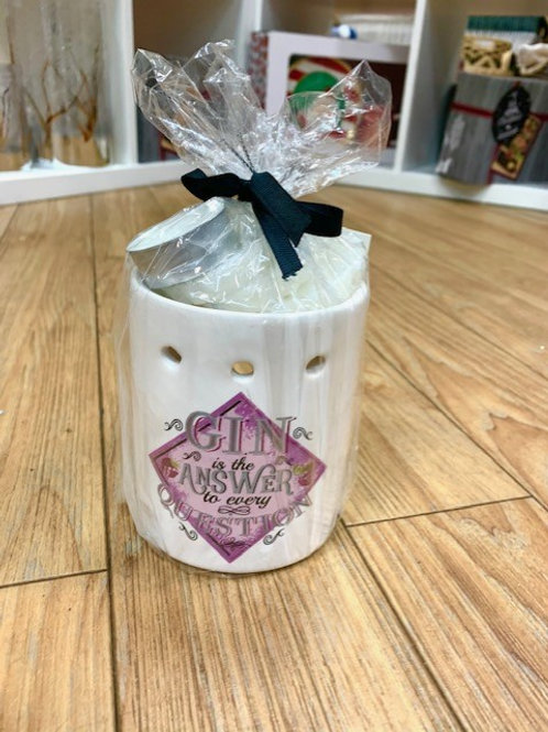 """SiL Interiors """"Gin is the Answer to Every Question"""" Melts and Burner Gift Set"""