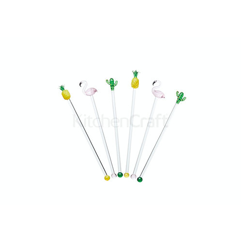 Barcraft Glass Cocktail Tropical Stirring Sticks