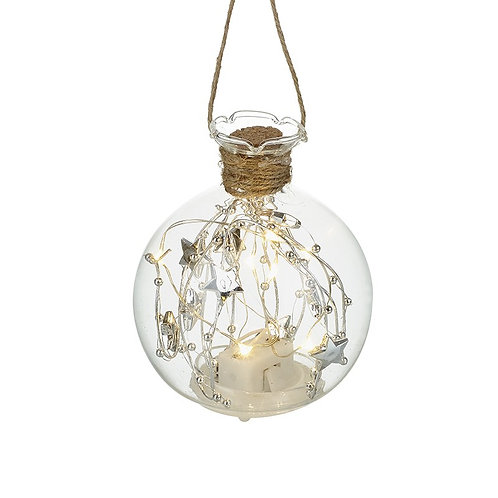 LED light Up Glass Bauble with Stars