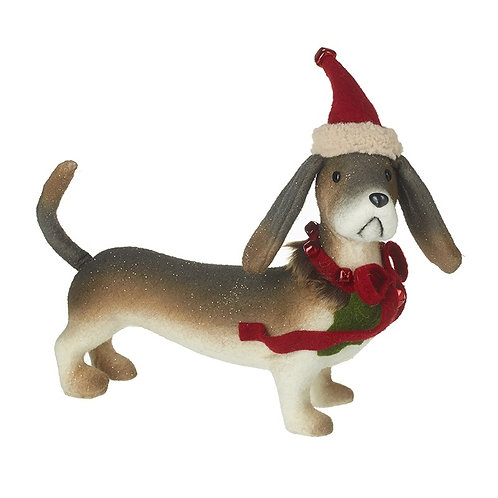 Woollen Cute Little Dog in Christmas Hat and Bow