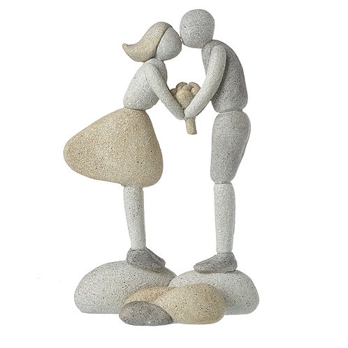 Cute Pebble and Resin Kissing Boy and Girl