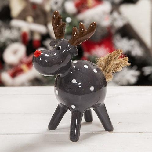 Grey Polka Dot Reindeer Figurine - 13.3cm high