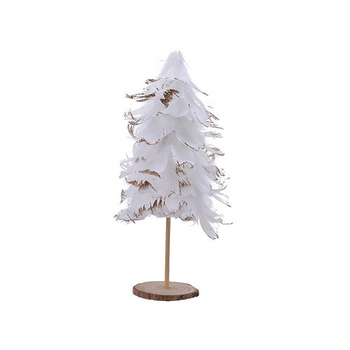 Feather Tree with Gold Glitter on Wooden Stand