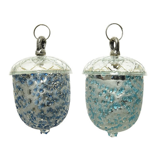 Glass Acorn Bauble with Cobalt Glitter