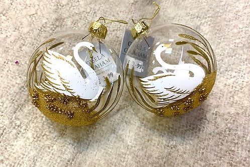 Gisela Graham Clear Glass Swan Bauble with Gold Detail