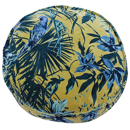 Amazon Jungle Round Teal and Ochre Cushion by Riva Home 50x12cm