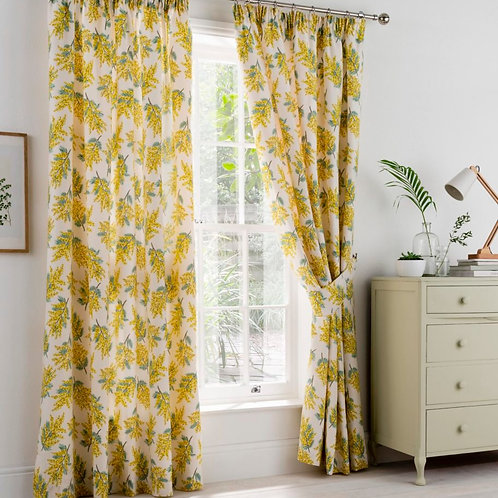 "Cath Kidston Luxury Ready Made Curtains Mimosa Citrine Flower Design 90""x54"""