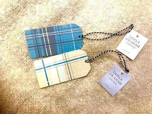 Gisela Graham Blue Check Wooden Gift Tag