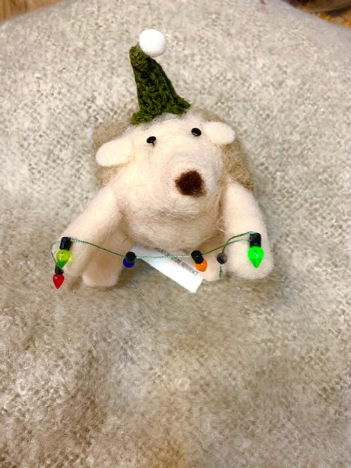 Wool Hedgehog with Christmas Coloured Lights