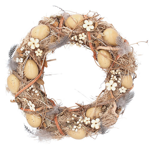 Gisela Graham Rustic Twig Feather and Egg Wreath