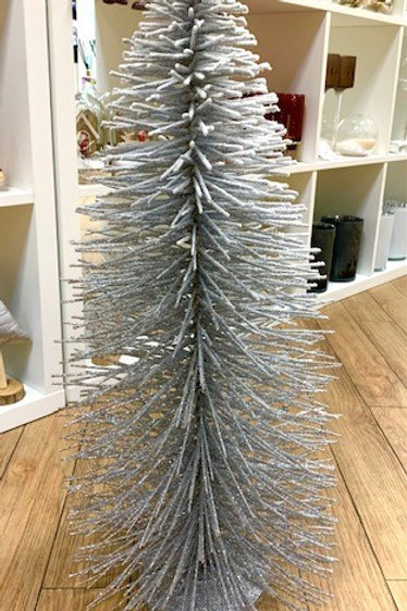 Large White and Silver Glitter Brush Tree 70cm