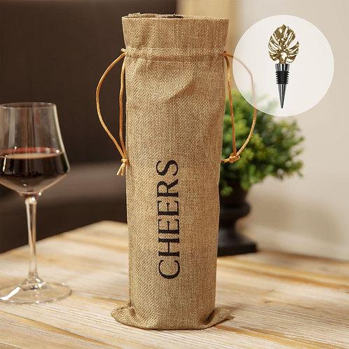 Hestia Hessian Bottle Bag with Monstera Stopper Gift Bag