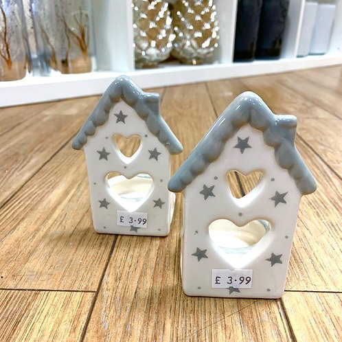 Nordic Grey and White Ceramic House Tealight Holder