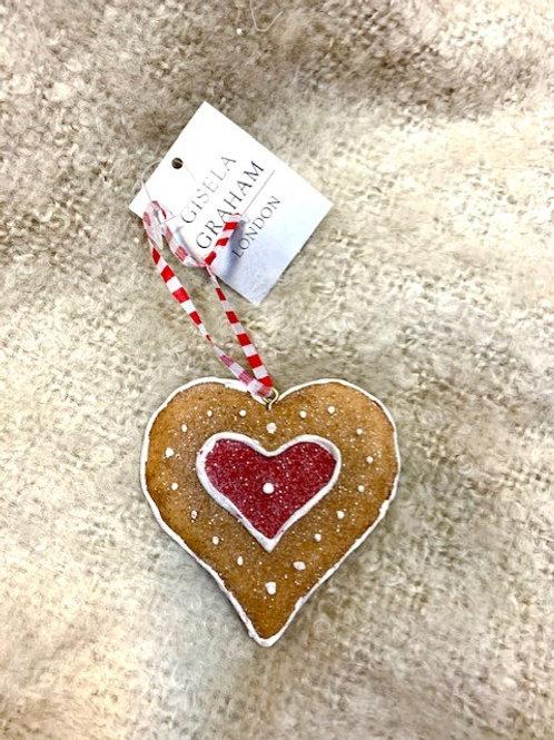 Gisela Graham Resin Gingerbread Heart Hanging Decoration