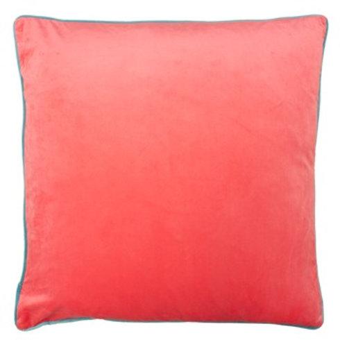 Meridian Square Velvet Look Pink/Turquoise Cushion 55cm x 55cm