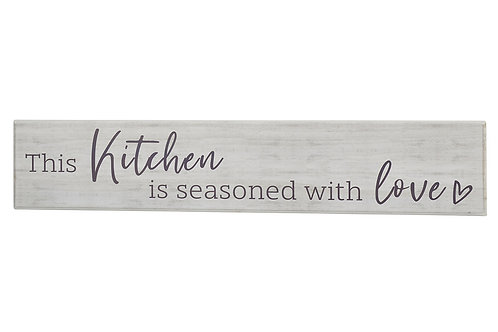 """Richard Lang """"This Kitchen is Seasoned with Love"""" Wooden Plaque Sign"""