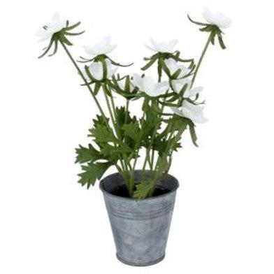 Faux White Anemone in Tin Pot