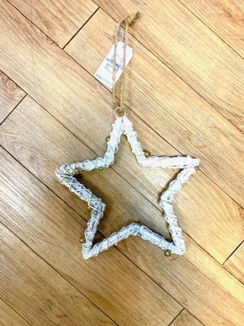 Gold and Glitter Hanging Star with Jingle Bells 25cm by Satchville