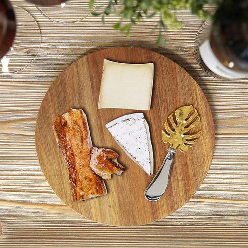 Hestia Acacia Cheese Board with Monstera Leaf Design Spreader