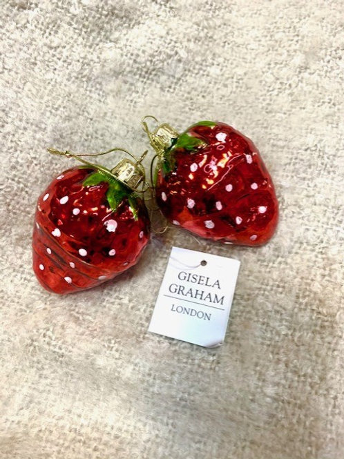 Gisela Graham Red Glass Strawberry Bauble