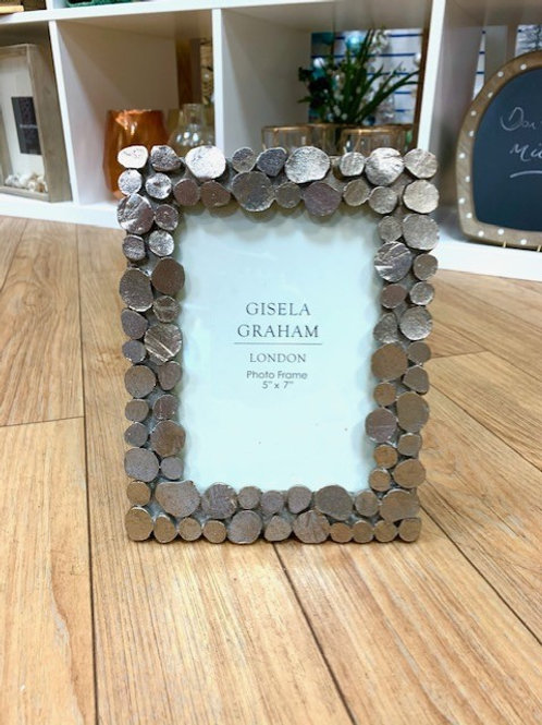 "Gisela Graham Silver Pebble Photo Frame 5""x7"""