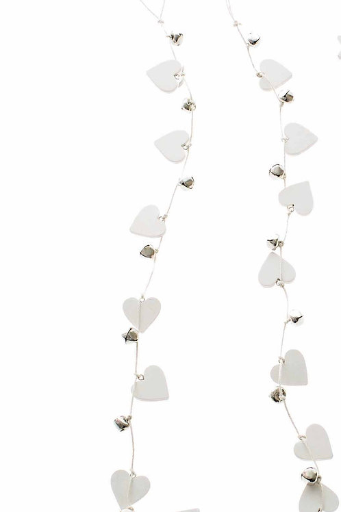Wooden White Hearts and Bells Garland