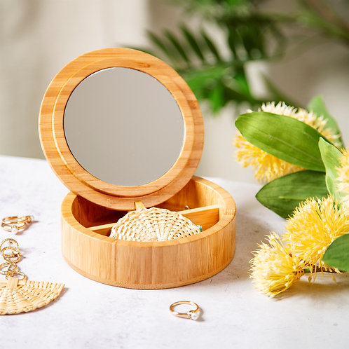 Sass and Belle Round Bamboo Jewellery Box
