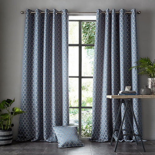 "Ashleigh Wilde Luxury Ready Made Curtains - Aldbury - Blue Danube 90""x90"