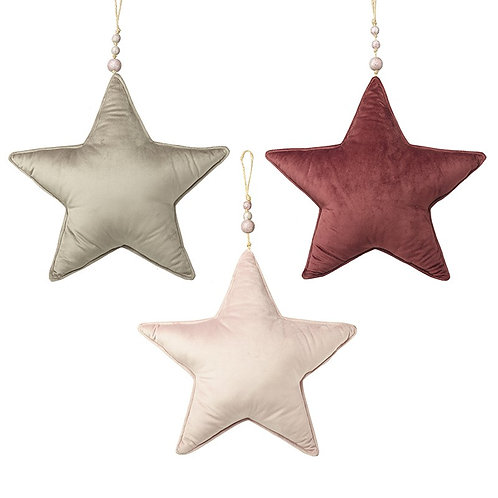 Large Velvet Hanging Star - Pink