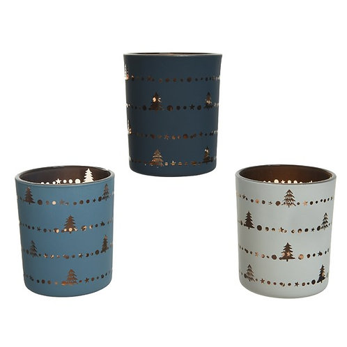 Tealight with Tree Border - Night Blue