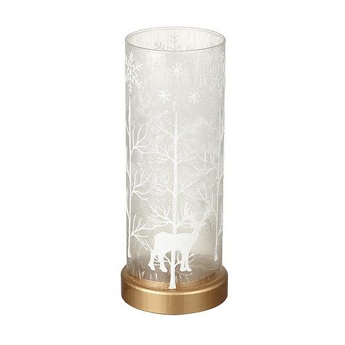 Large Glass Winter Scene LED Stag Lantern